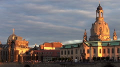 Dresden skyline with the frauenkirche at dusk Stock Footage