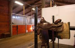Saddle center path horse paddack equestrian stable Stock Photos