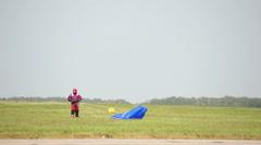 Parachutist After Jump Stock Footage