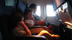 Family with kids during flight Stock Footage
