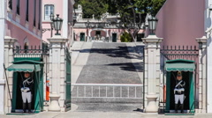 Entrance to the belem palace in lisbon Stock Footage