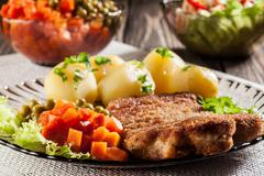 breaded cutlet and prepared potatoes - stock photo