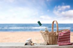 Picnic for one person at the sea Stock Photos