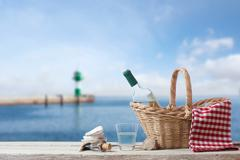 picnic for one person at the sea - stock photo