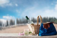 picnic for one person in a mediterranean landscape - stock photo