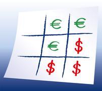 Euro Dollar Tic-tac-toe Stock Illustration