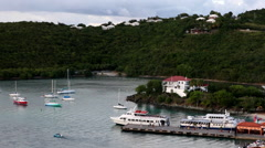 Fery waits for passengers in st. johns harbor Stock Footage