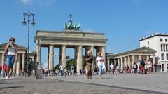 Brandenburg gate with clear blue sky, Berlin, Germany Stock Footage