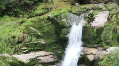 Kamienczyk Waterfall - the highest waterfall in the Polish Sudetes. Stock Footage