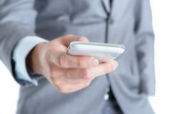 businessman using smart phone. - stock photo
