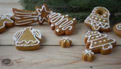 Christmas cookies and snowflake Stock Footage