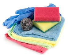 sponges, towels and dishwashing detergent - stock photo