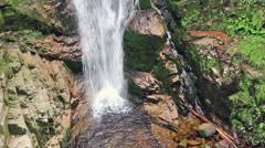 Lower part of Kamienczyk Waterfall, the highest waterfall in the Polish Sudetes. Stock Footage