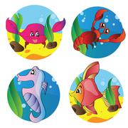 vector set of images of the marine life - stock illustration