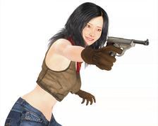 Beautiful Japanese Assassin in cow girl costume - stock illustration