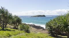 Fingal Head view of Cook Island New South Wales Stock Photos