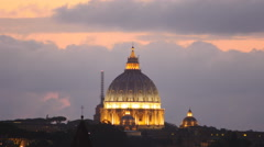 Sunset to night timelapse St Peters dome 4K Stock Footage