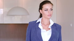Beautiful Stylish Young Businesswoman Standing With Folded Arms - stock footage