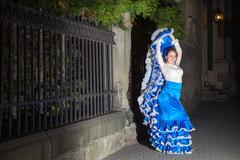 Flamenco dancer in old city street Stock Photos