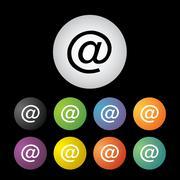 mail address icon set - stock illustration