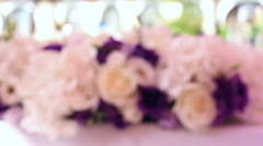 Wedding decoration and glasses with champagne - stock footage
