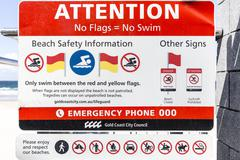 Beach Safety Information sign - stock photo
