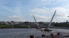 Derry Peace Bridge, Northern Ireland Stock Footage