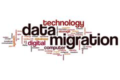 Data migration word cloud Stock Illustration