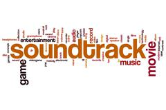 Soundtrack word cloud Stock Illustration