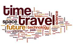 time travel word cloud - stock illustration