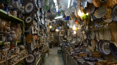 Places for the sale of souvenirs in Jerusalem Stock Footage