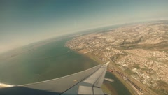 Plane over Lisbon after take-off 2.7K Stock Footage