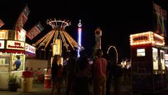 Carnival Midway with People Stock Footage