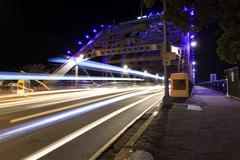 Brisbane Story Bridge night traffic trails Stock Photos