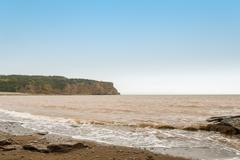 cliifs of cape enrage along the bay of fundy - stock photo