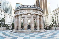 Shrine of Remembrance monument and Eternal Flam - stock photo