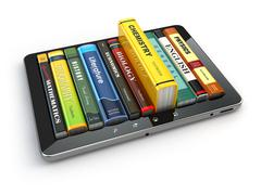 e-learning.  tablet pc and textbooks. education online. - stock illustration