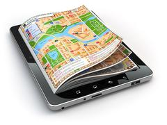 gps navigation concept. guide map on the tablet pc screen. - stock illustration