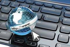 browser. internet concept.. earth on laptop keyboard. - stock illustration