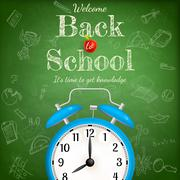 Back to school with alarm clock. EPS 10 Stock Illustration