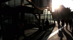 Trianon Masp Subway Station On Avenida Paulista - Sao Paulo, Brazil - sunset Stock Footage