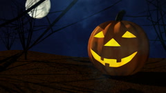 Smiling Halloween Pumpkin Stock Footage