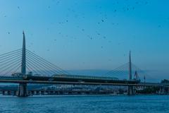 golden horn metro bridge - stock photo