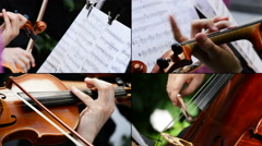4K String Quartet Collage Stock Footage