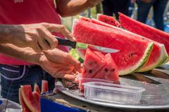 Watermelon vendor Stock Photos