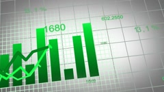 Growing charts animation design in green  (in addition to black BG) Stock Footage