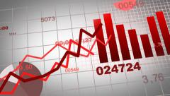 Growing charts animation design in red (in addition to black BG) Stock Footage