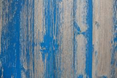 old wooden shabby chic background with peeled or flaked color in blue. - stock photo