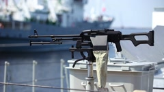 Machine gun on warship Stock Footage