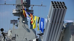 Naval flags on a warship Stock Footage